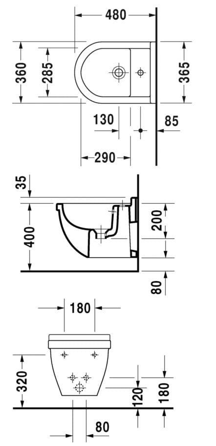 Starck 3 Wall Hung Bidet By Duravit Design Philippe Starck