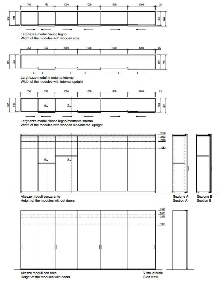 Armadio Ante Scorrevoli Dimensioni.Storage Armadio Con Ante Scorrevoli By Porro Design Piero Lissoni