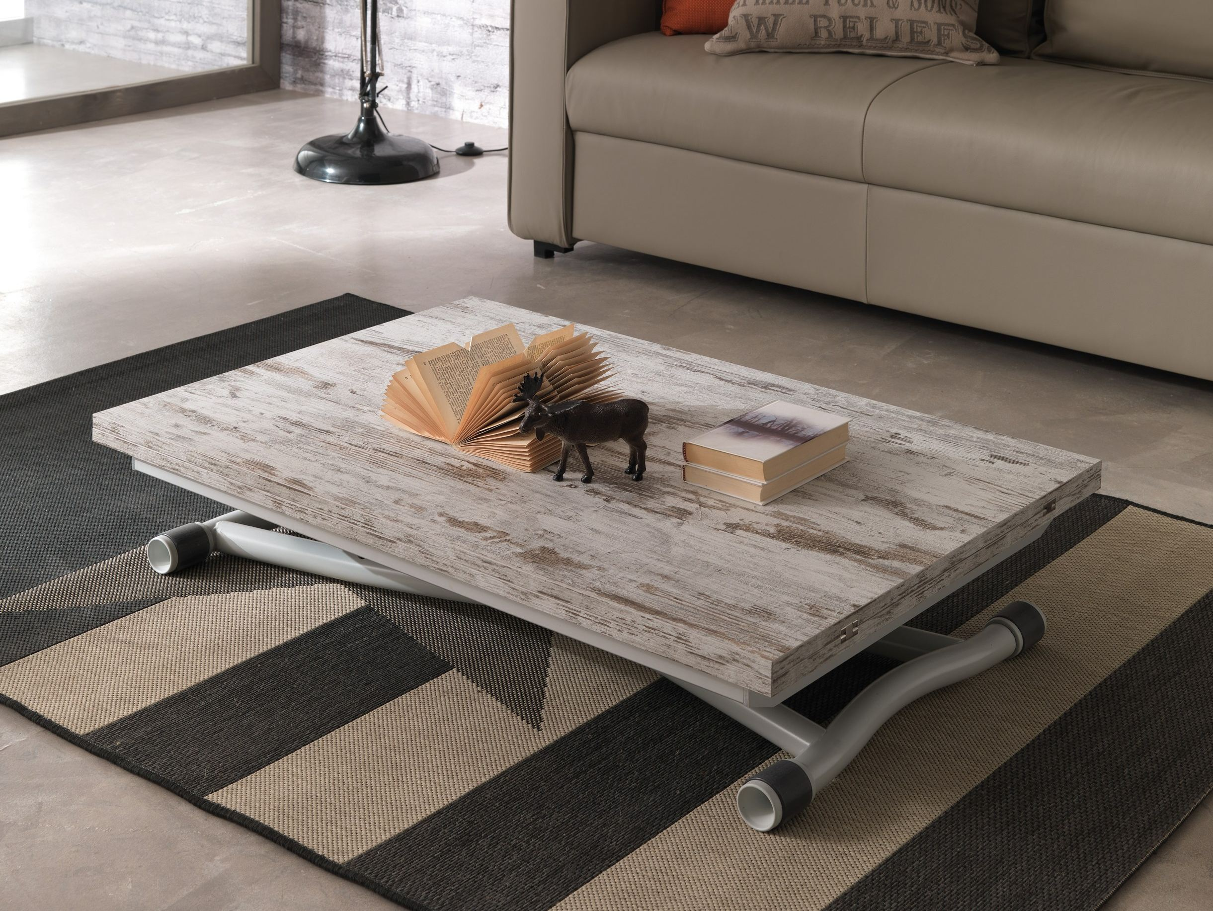 Height adjustable rectangular coffee table SYDNEY LONG By Ozzio