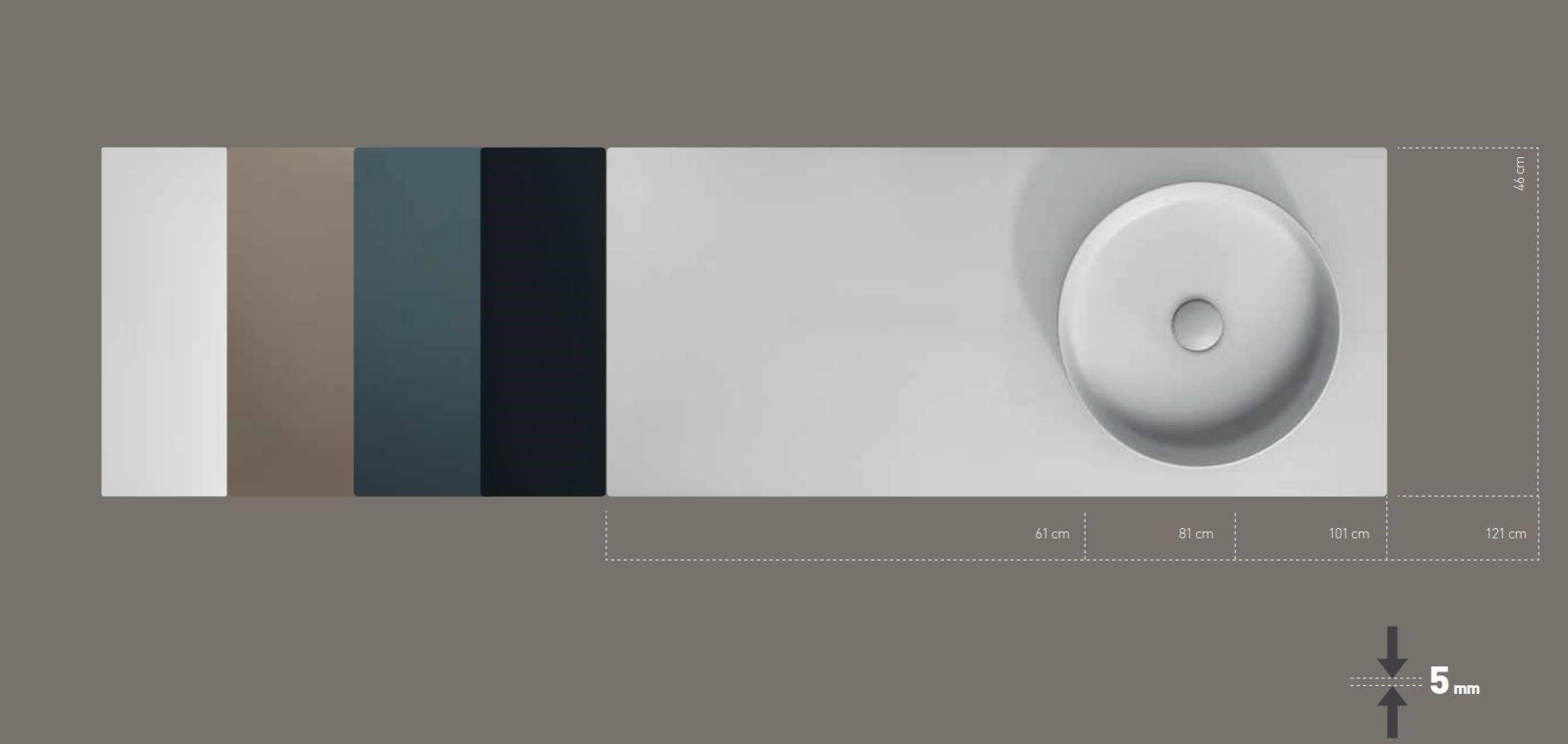 Piano lavabo singolo in ceramica TABULAE By GALASSIA