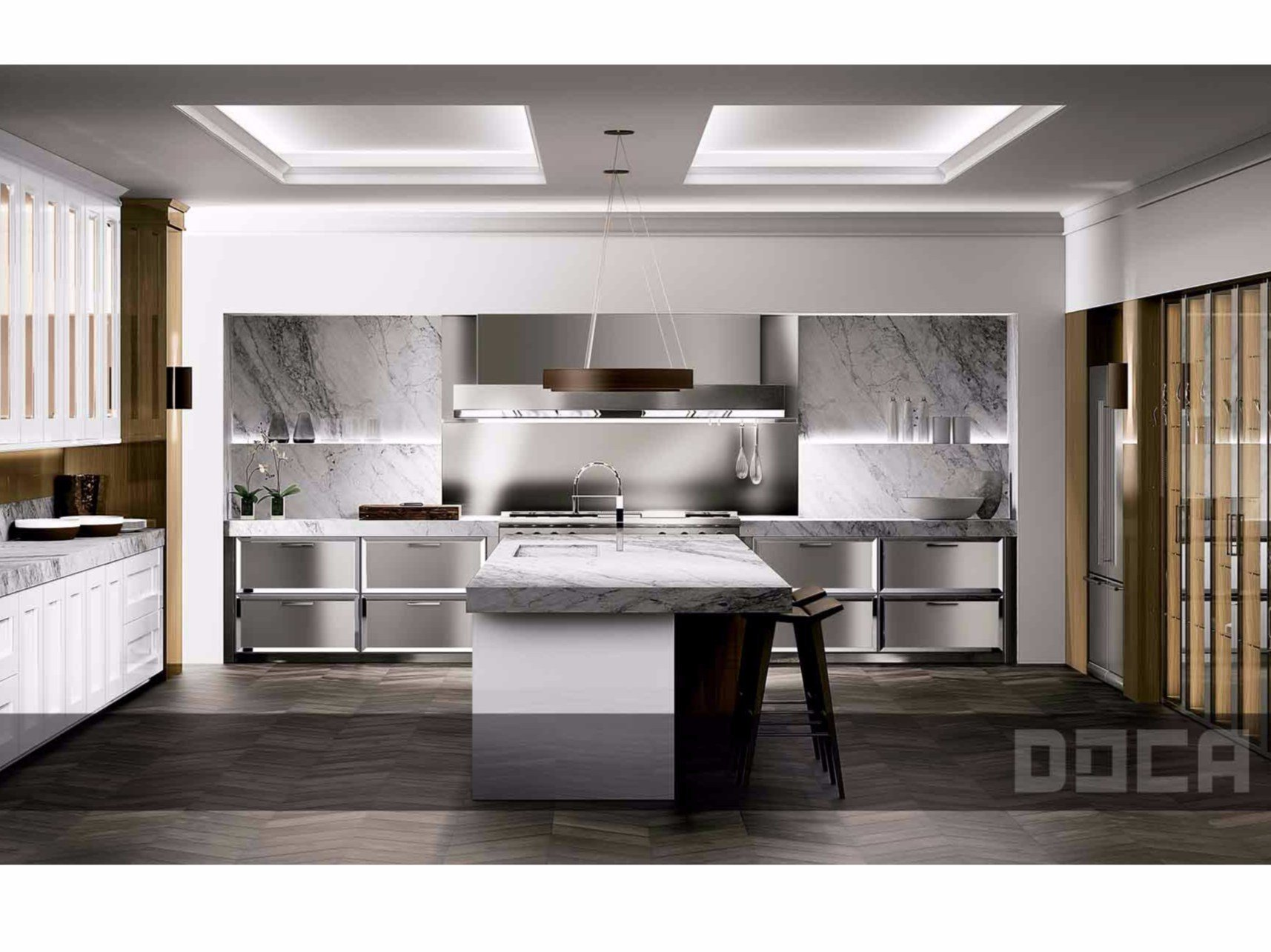 Classic style kitchen with island timeless blanco brillo for Muebles de cocina doca