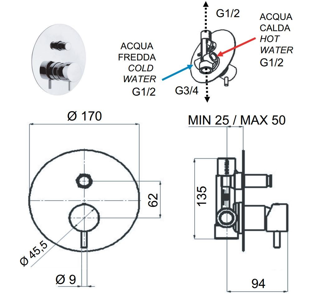 Tokyo Shower Mixer With Diverter By Daniel Rubinetterie Schematic Dimensions