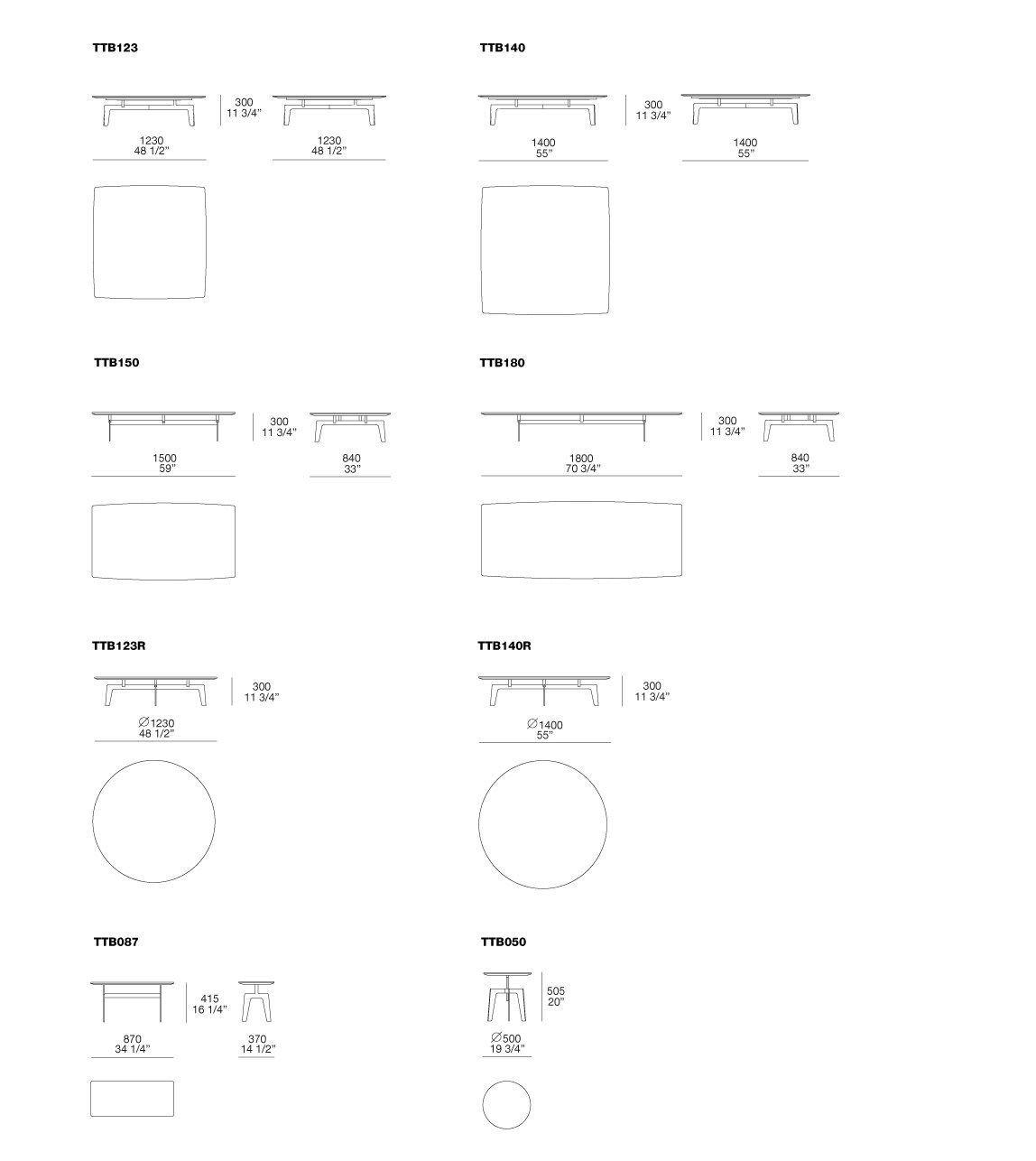 Dimensions TRIBECA | Rectangular Coffee Table