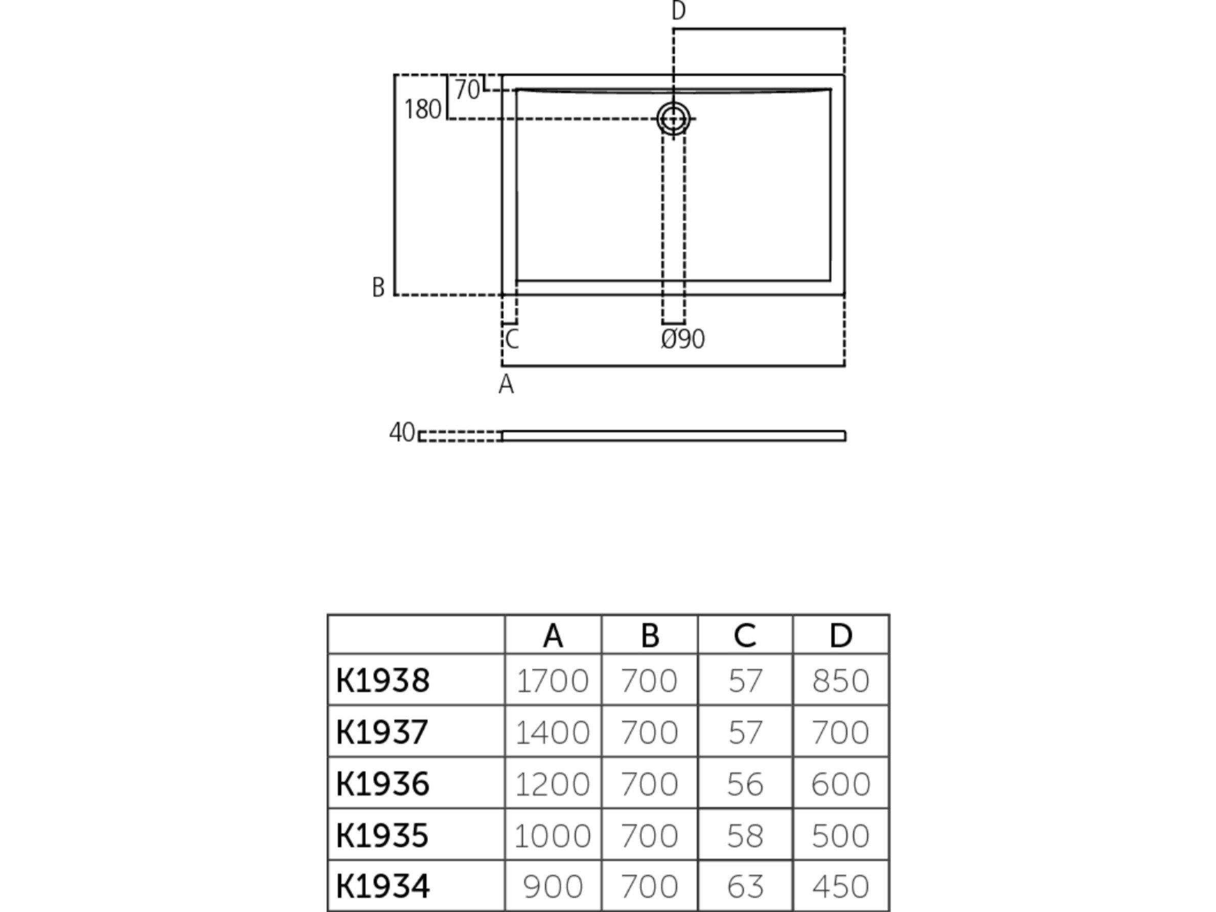 Rectangular Acrylic Shower Tray Ultra Flat 170 X 70 Cm K1938 By Ideal Standard