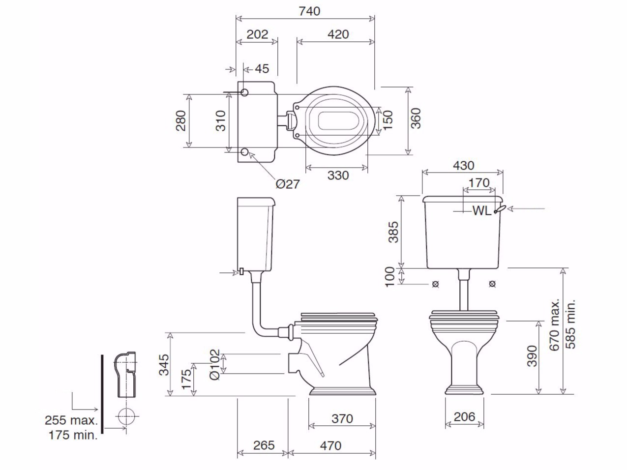 Misure wc con cassetta esterna idee immagine di decorazione - Misure attacchi idraulici bagno ...