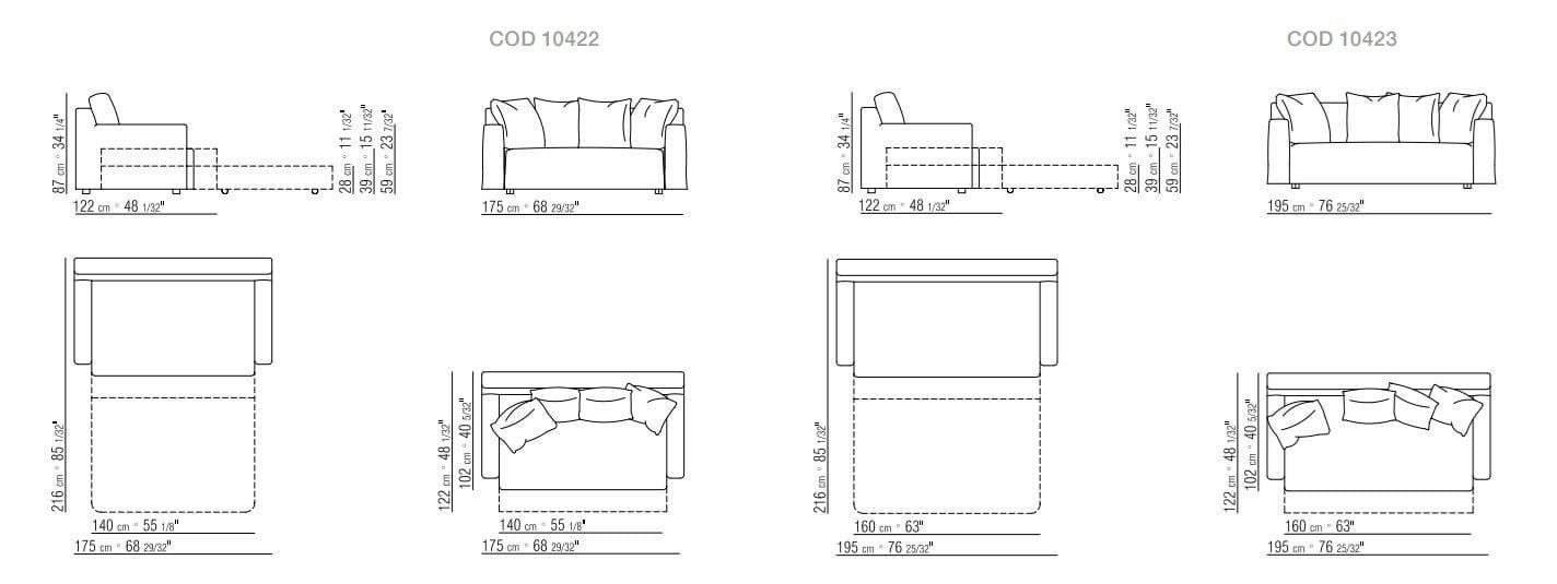 Divano letto sfoderabile in tessuto WINNY By Flexform design