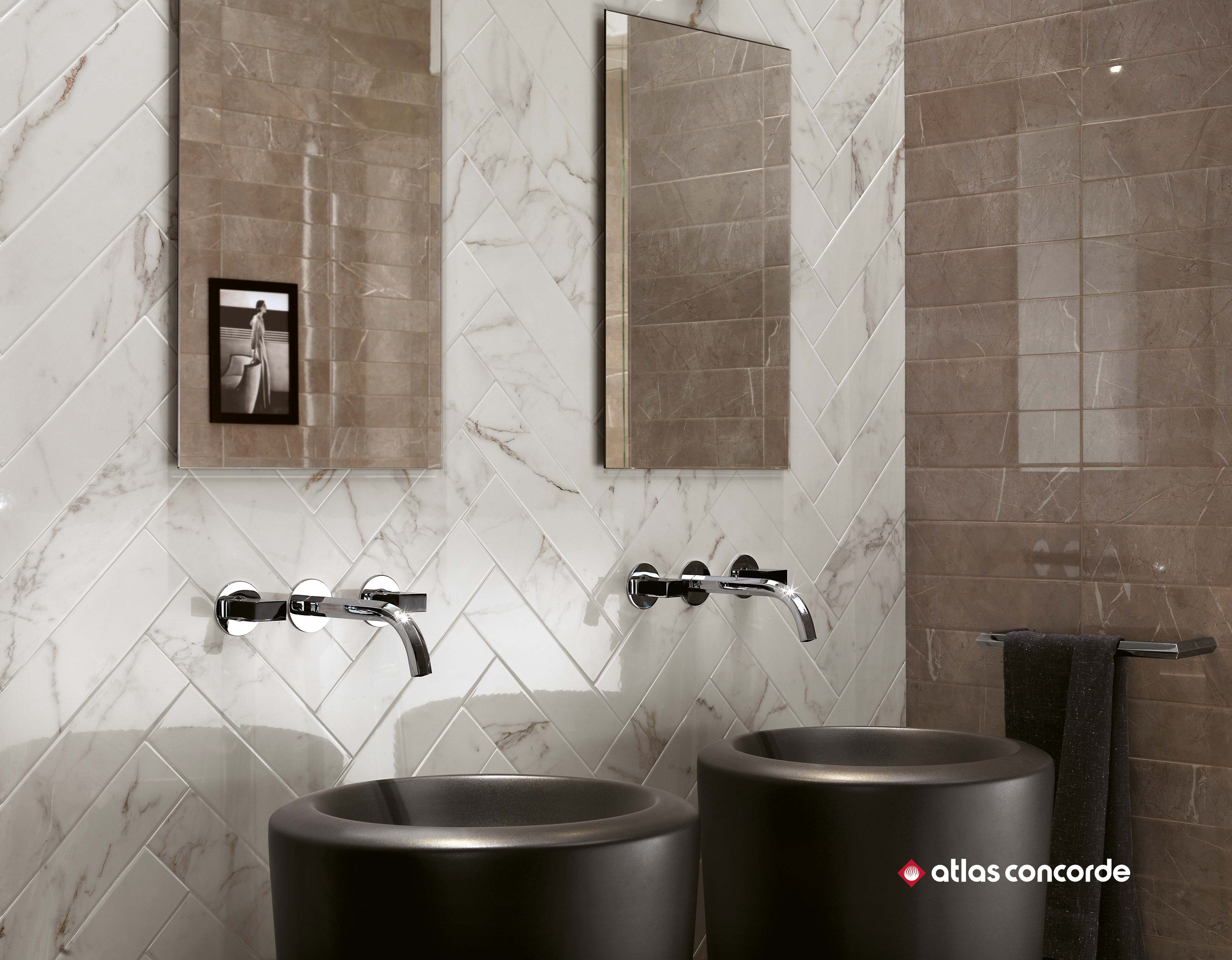 White Paste Wall Tiles With Marble Effect BRICK ATELIER MARVEL Brick  Atelier Collection By Atlas Concorde