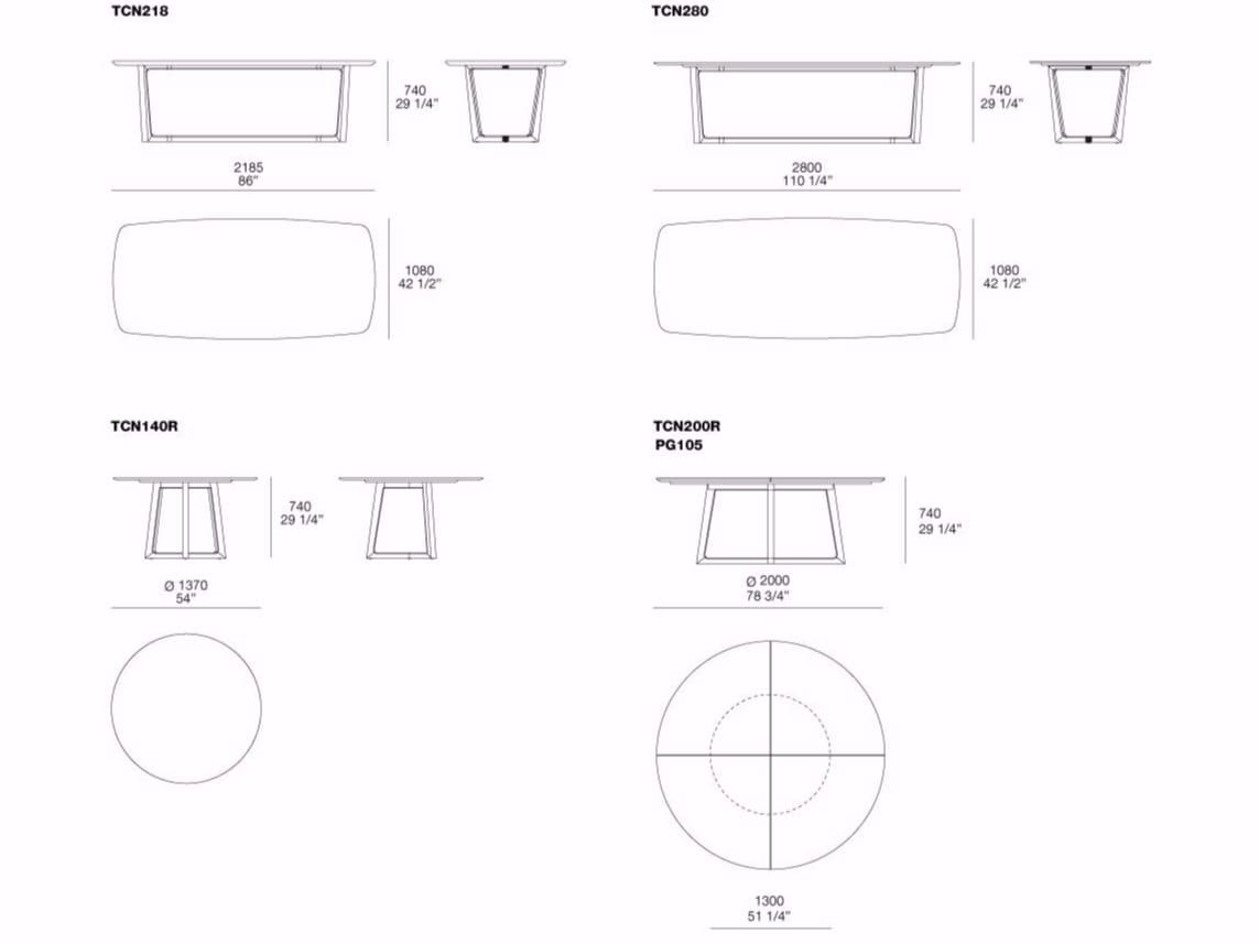 Dimensions CONCORDE | Round Table