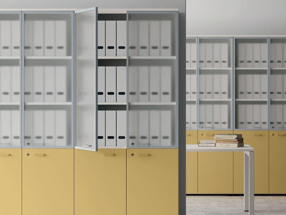 Contenitori universali evo wood and glass office storage for Mobili contenitori