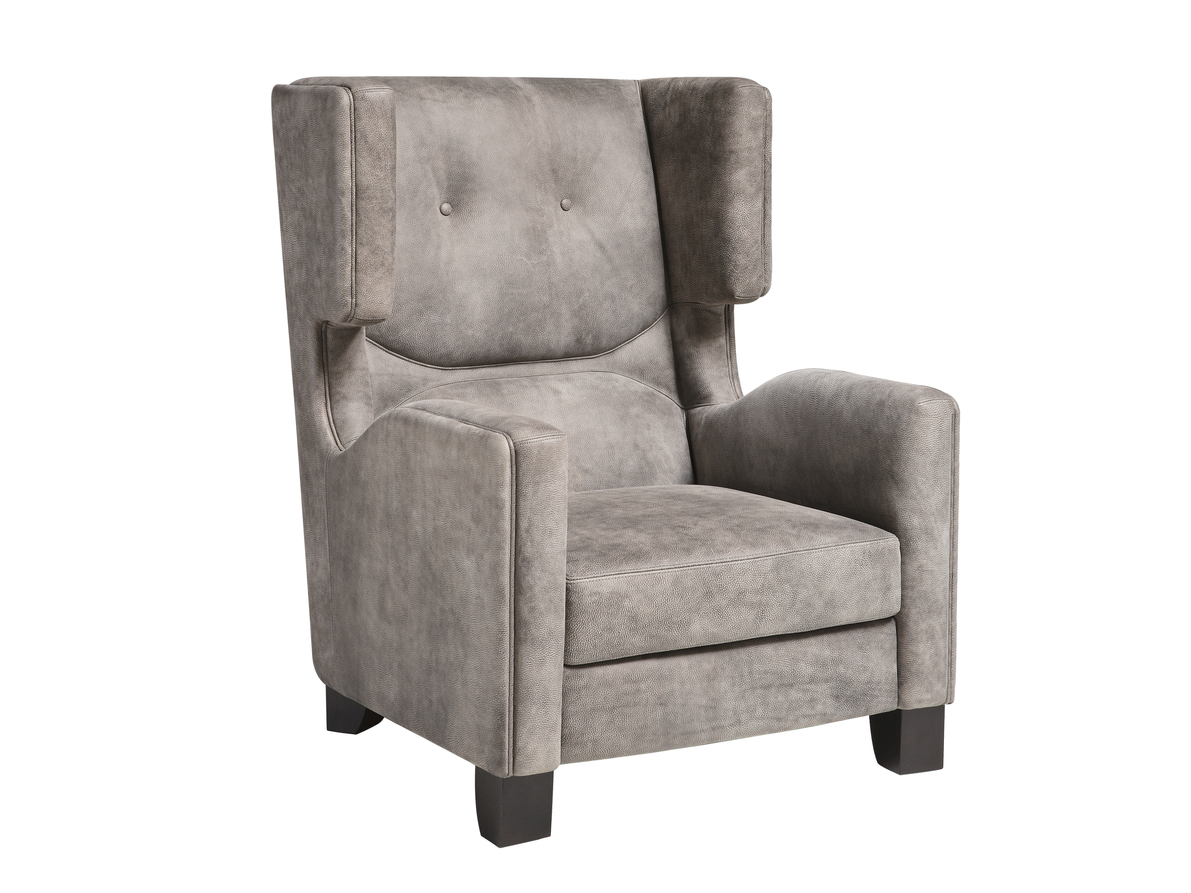 Bergere upholstered leather armchair LOUISE By Miniforms