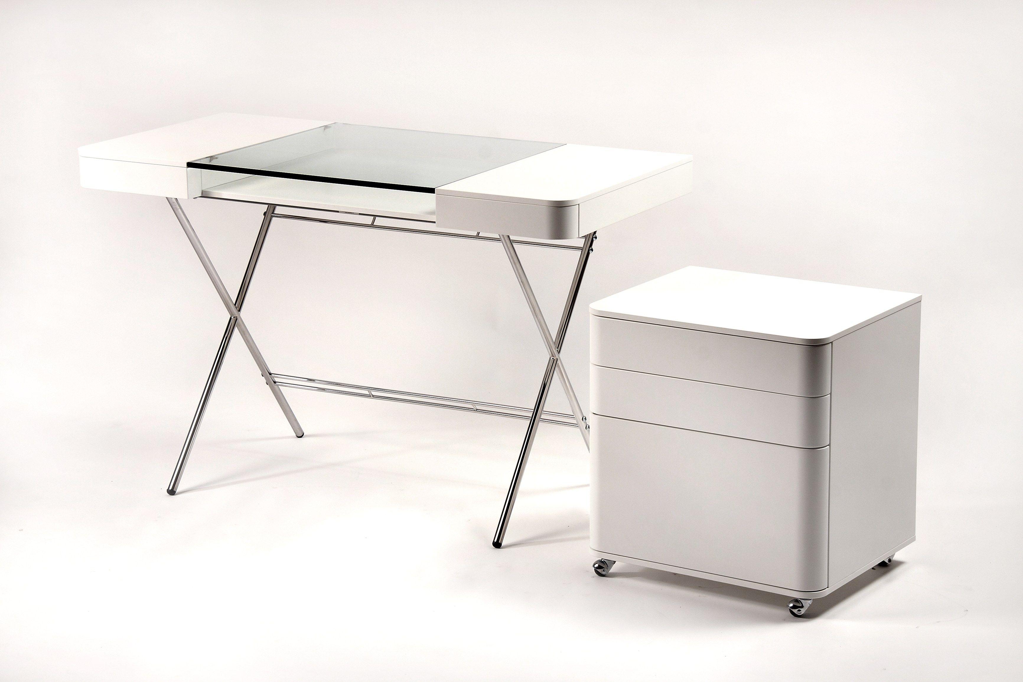 Schreibtisch Aus MDF Und Glas Mit Schubladen COSIMO LAQUÉ BLANC MAT  Kollektion Cosimo By Adentro Design Marco Zanuso