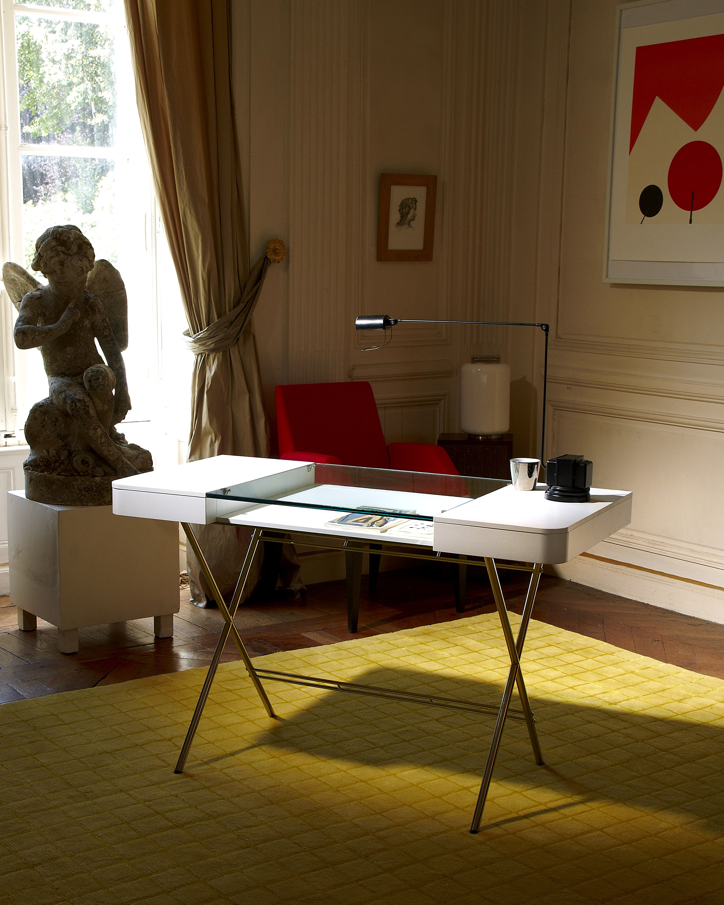 MDF And Glass Writing Desk With Drawers COSIMO LAQUÉ BLANC MAT Cosimo  Collection By Adentro Design Marco Zanuso