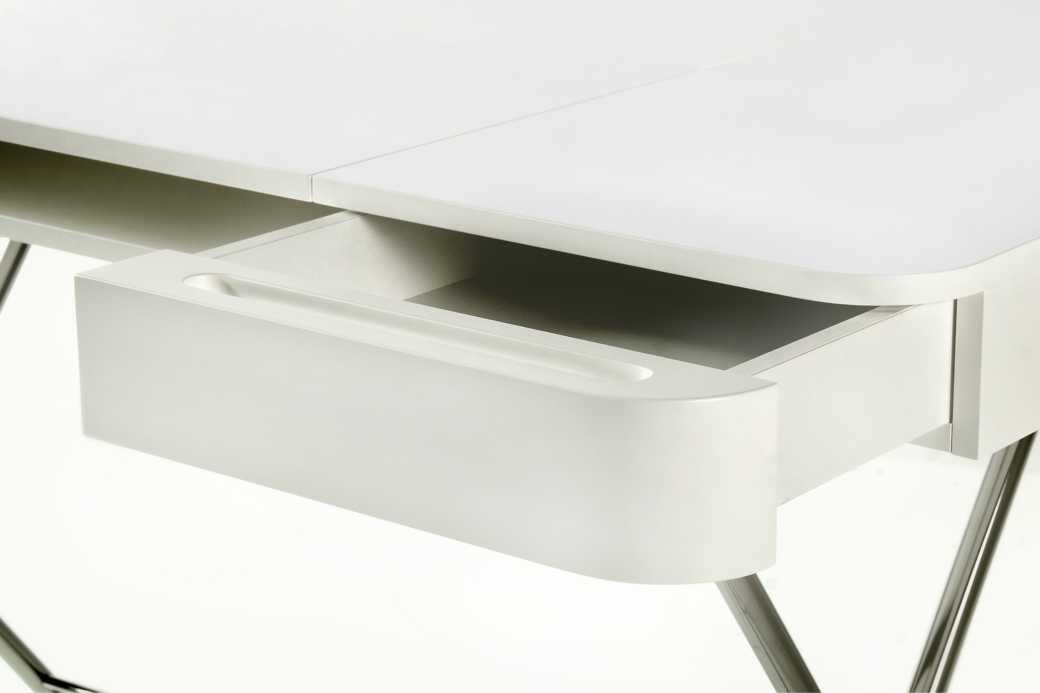 MDF Writing Desk With Drawers COSIMO LAQUÉ BLANC MAT   MDF Cosimo  Collection By Adentro Design Marco Zanuso