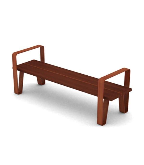 corten steel-iroko wood