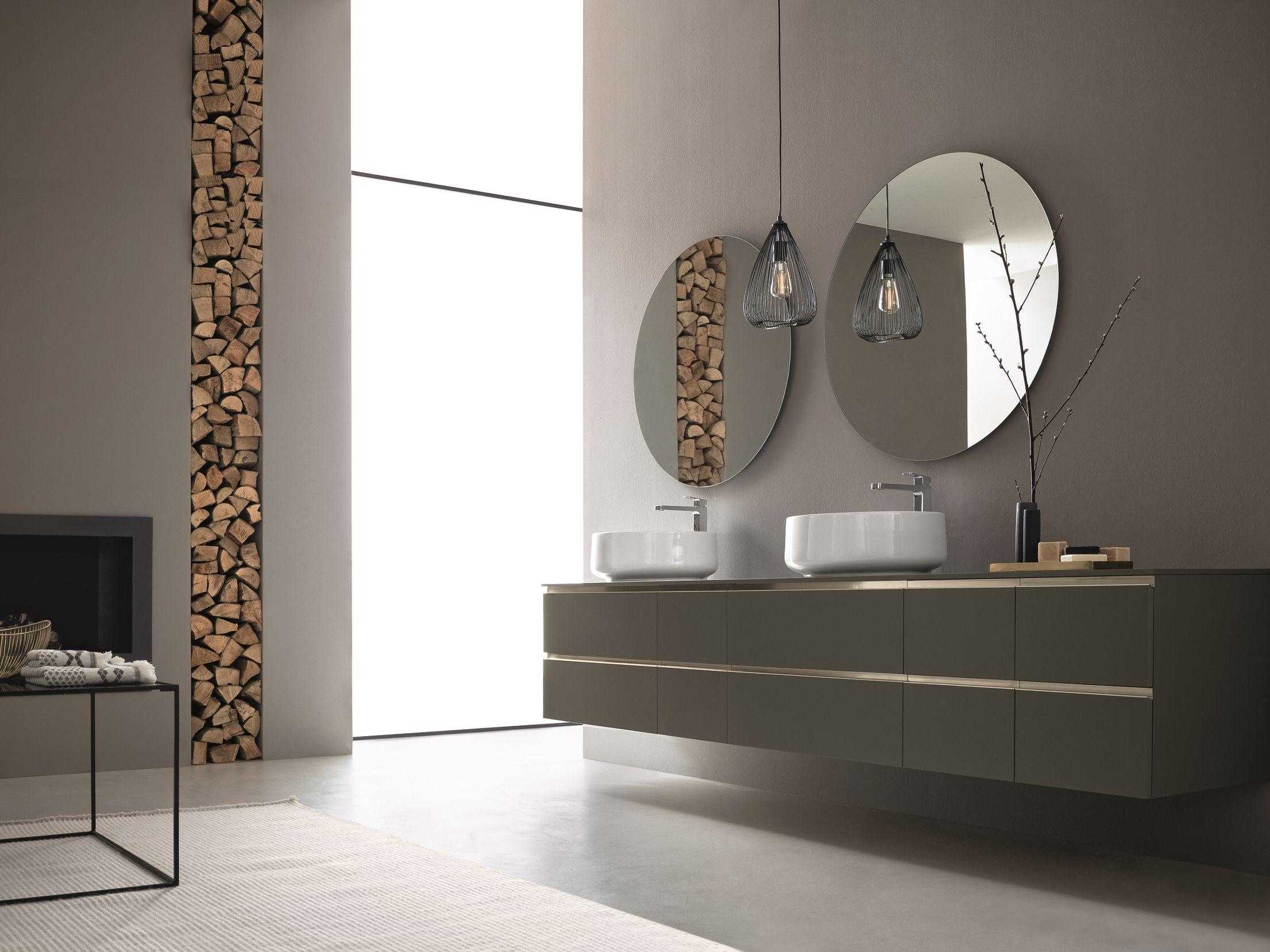 Mobile lavabo doppio sospeso con specchio dress 05 collezione dress 2017 by arblu - Mobili bagno con specchio ...