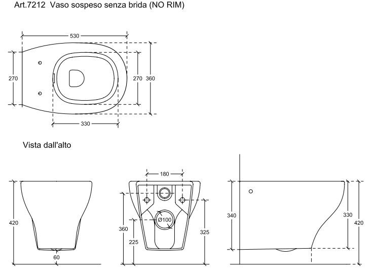 toilet dimensions from wall.  Dimensions EDEN Wall hung toilet By GALASSIA design Antonio Pascale