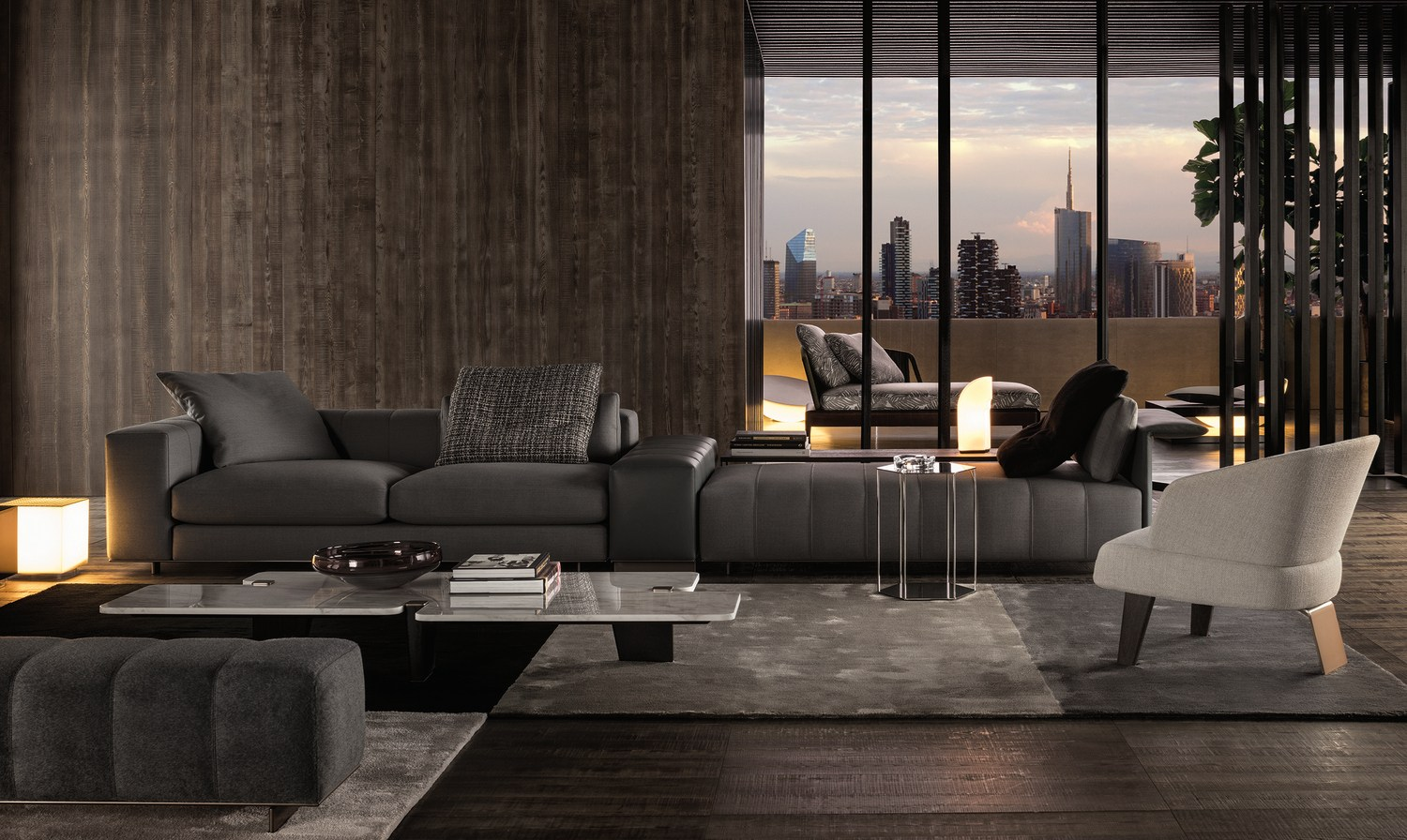 Sofa freeman seating system by minotti for Chaise de salle a manger avec accoudoir