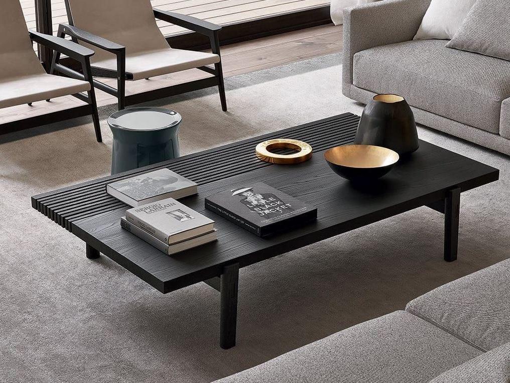 Low Rectangular Wood Veneer Coffee Table Home Hotel