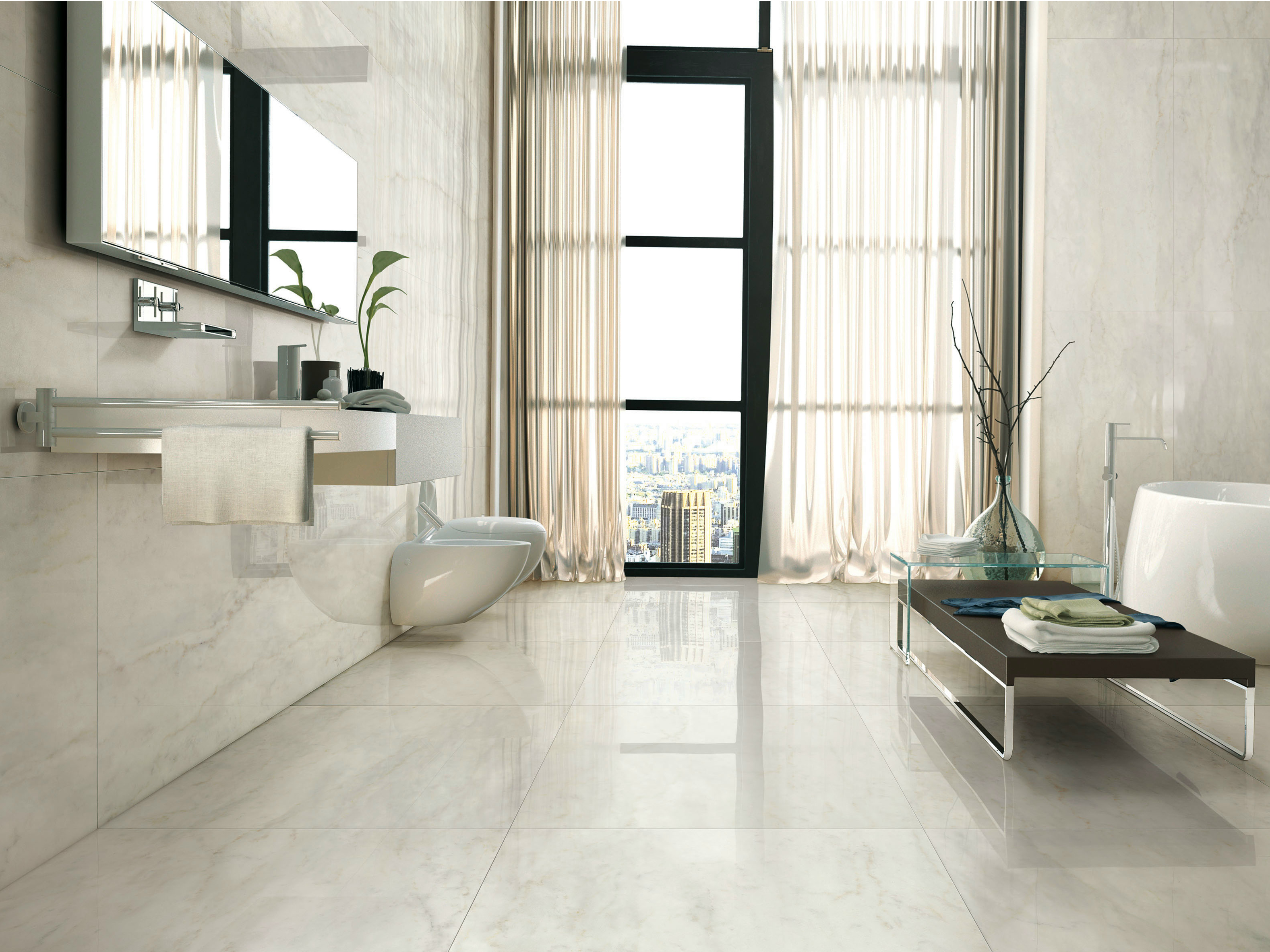 Porcelain stoneware wall floor tiles with marble effect i for Carrelage 80x80