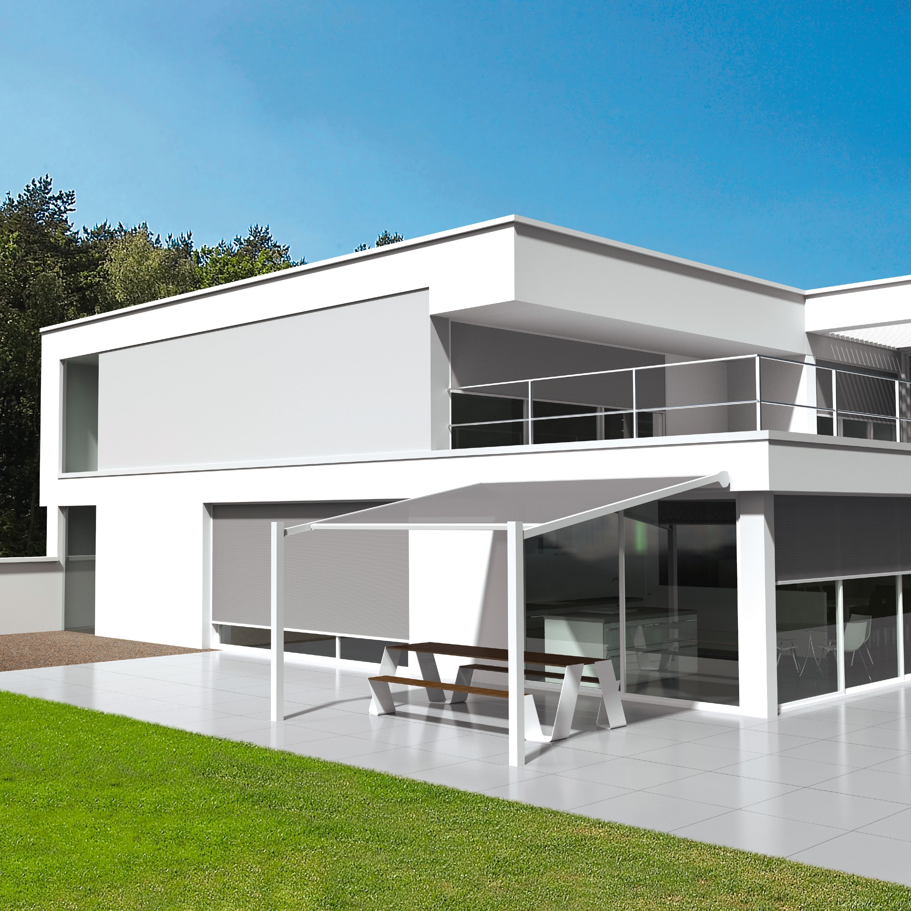 Wall-mounted pergola with sliding cover LAPURE® By RENSON