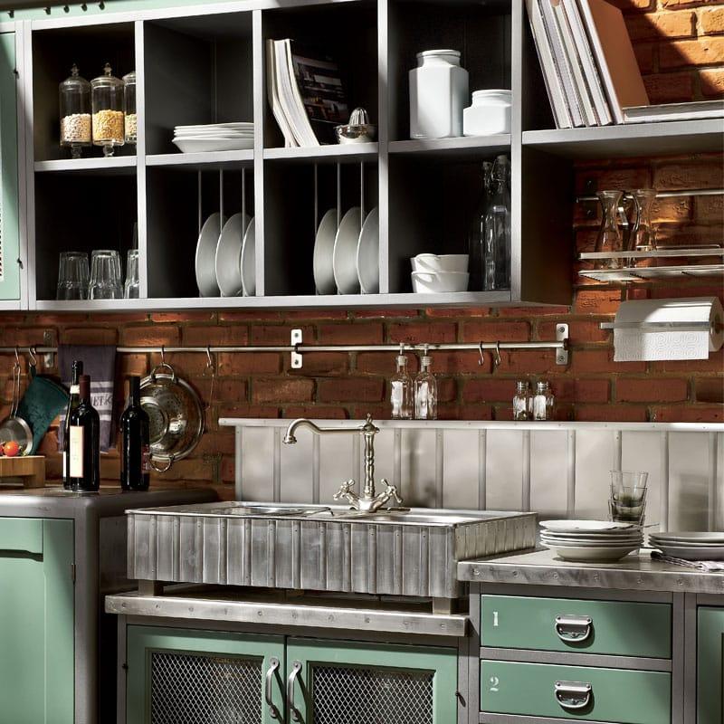 cucina componibile in acciaio inox con isola loft composizione 01 collezione loft by marchi cucine. Black Bedroom Furniture Sets. Home Design Ideas