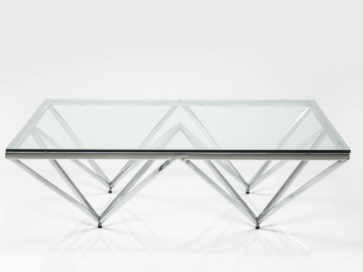 table basse rectangulaire en acier inoxydable et verre. Black Bedroom Furniture Sets. Home Design Ideas