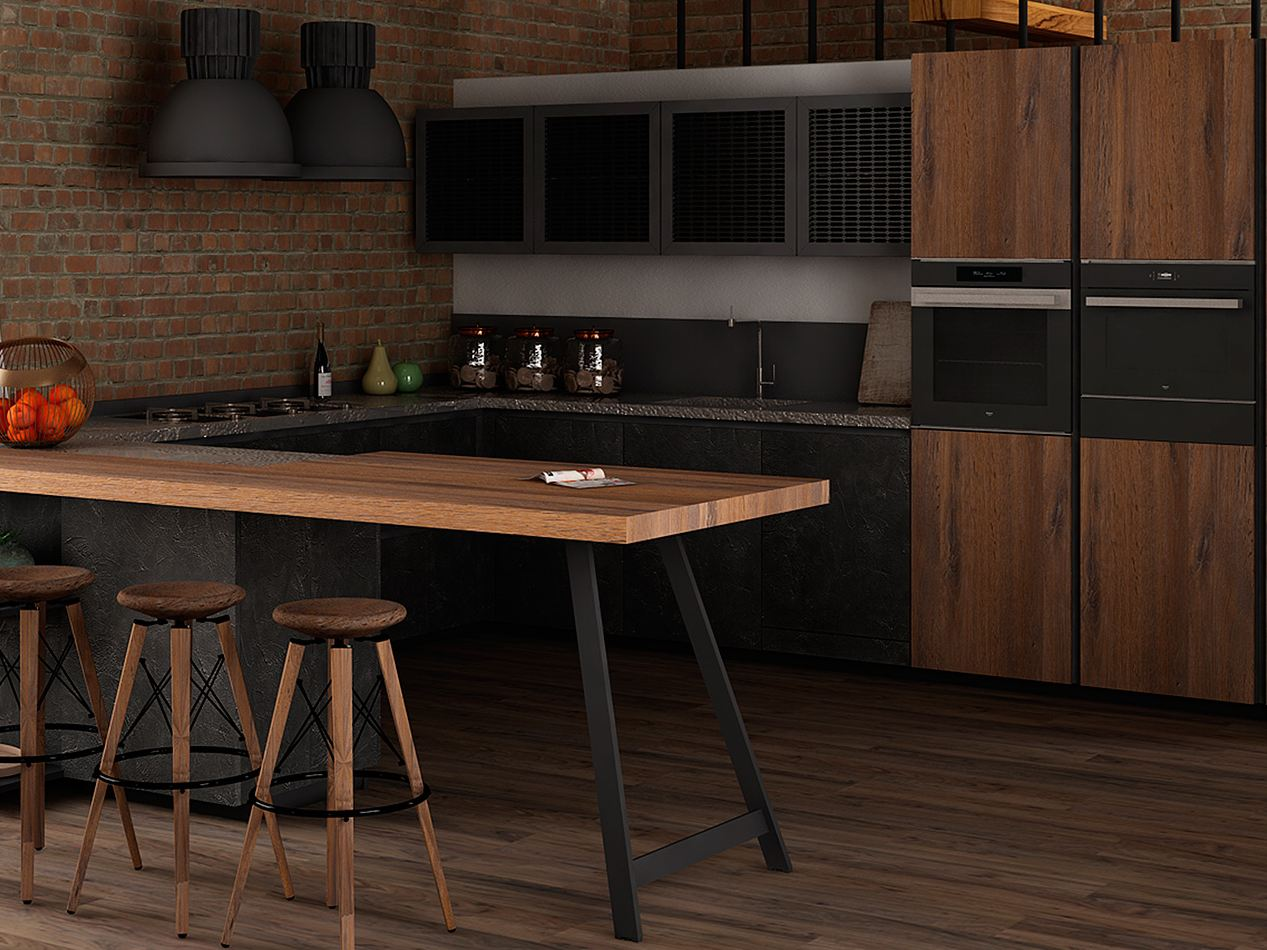 Wood veneer fitted kitchen CLOVER 04 By Cucine Lube