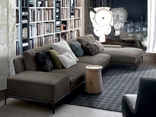 Park sofa with chaise longue park collection by poliform for Chaise longue tissu