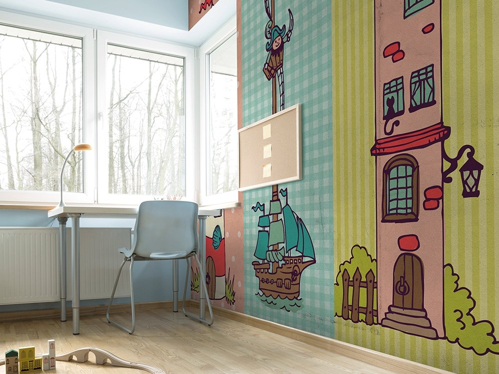 Vinyl kids wallpaper pastello junior collection by adriani for Carta da parati cameretta bambina