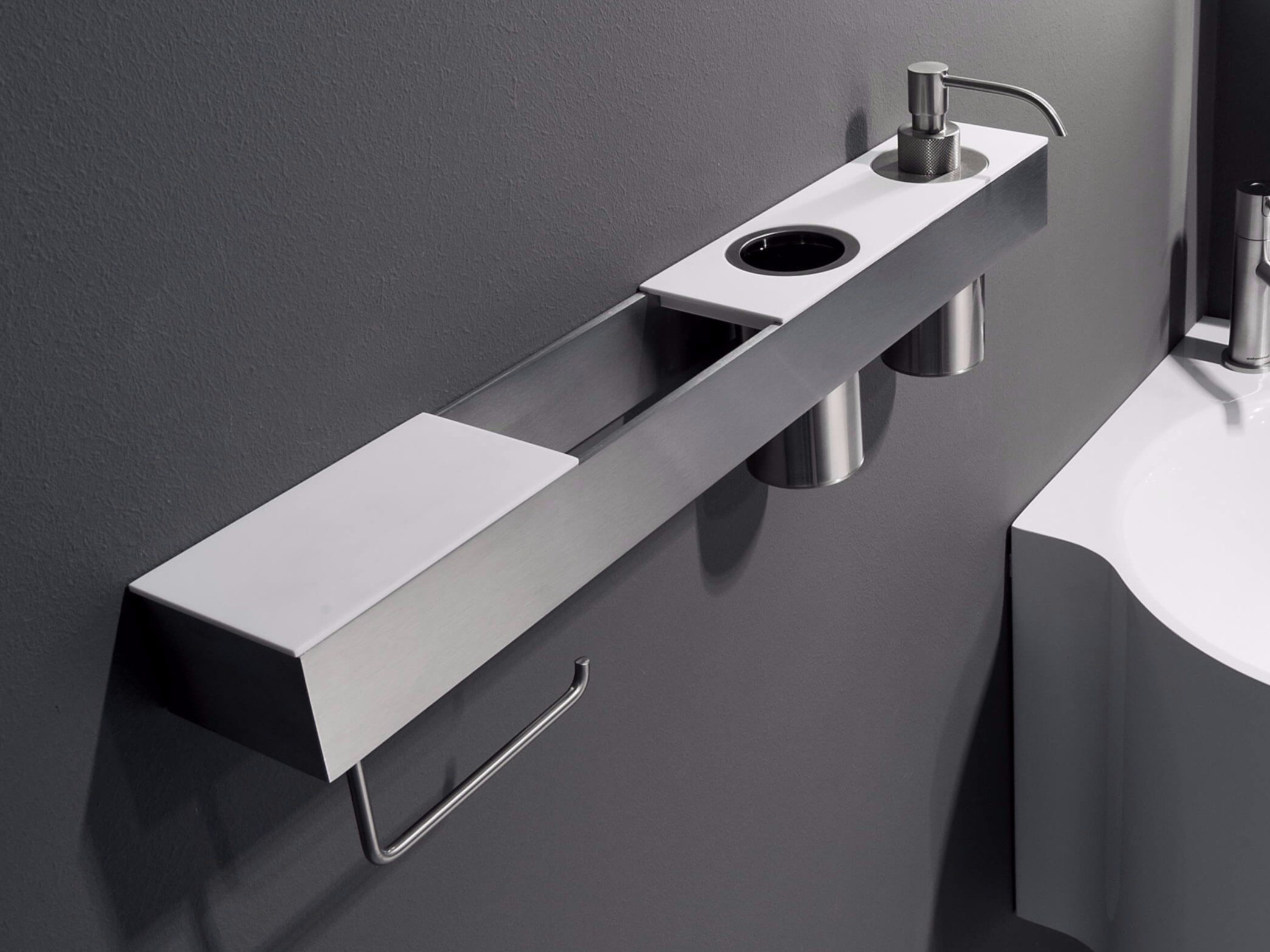 Mensola bagno accessoriata play by antonio lupi design for Accessori bagno di design