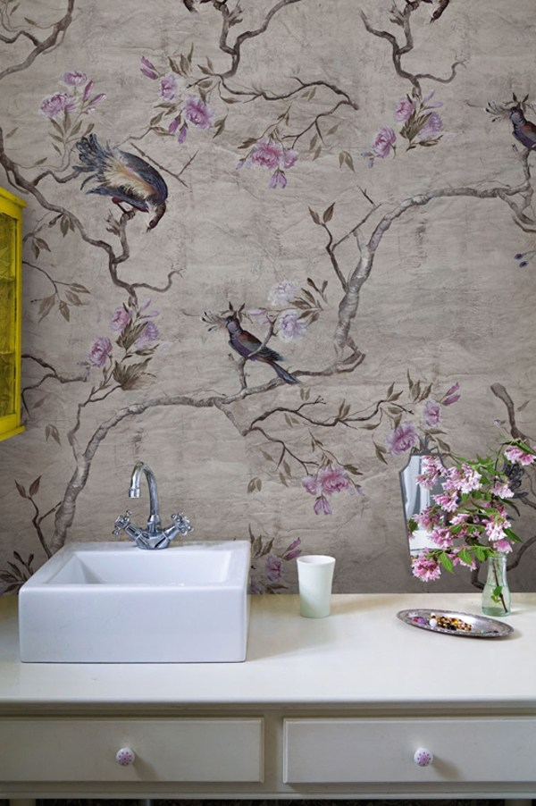 Papel pintado de flores para ba os hanamachi by wall dec - Papeles pintados para banos ...