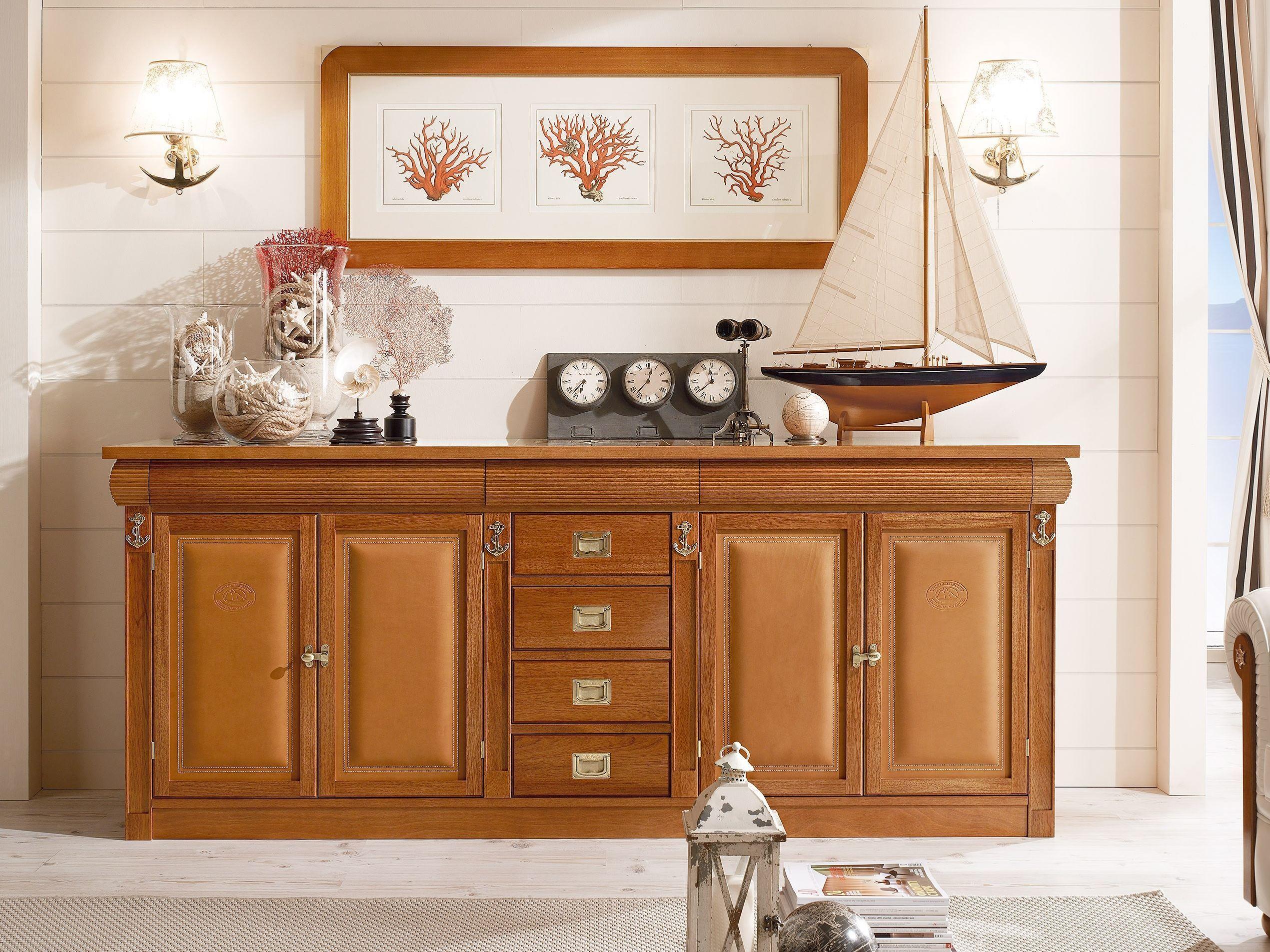 Aparador composable de madera maciza con puertas sestante for Aparadores de cocina
