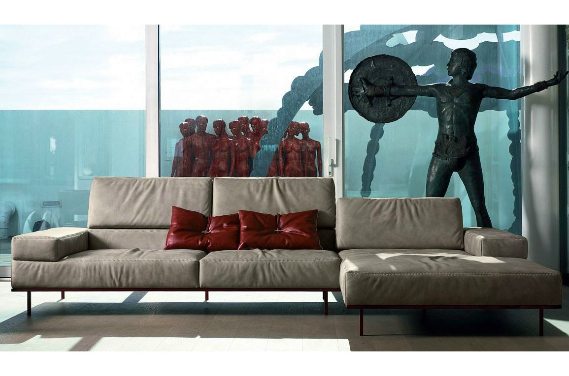 Designer eckcouch leder  Sectional leather sofa with headrest HUGO By Italy Dream Design
