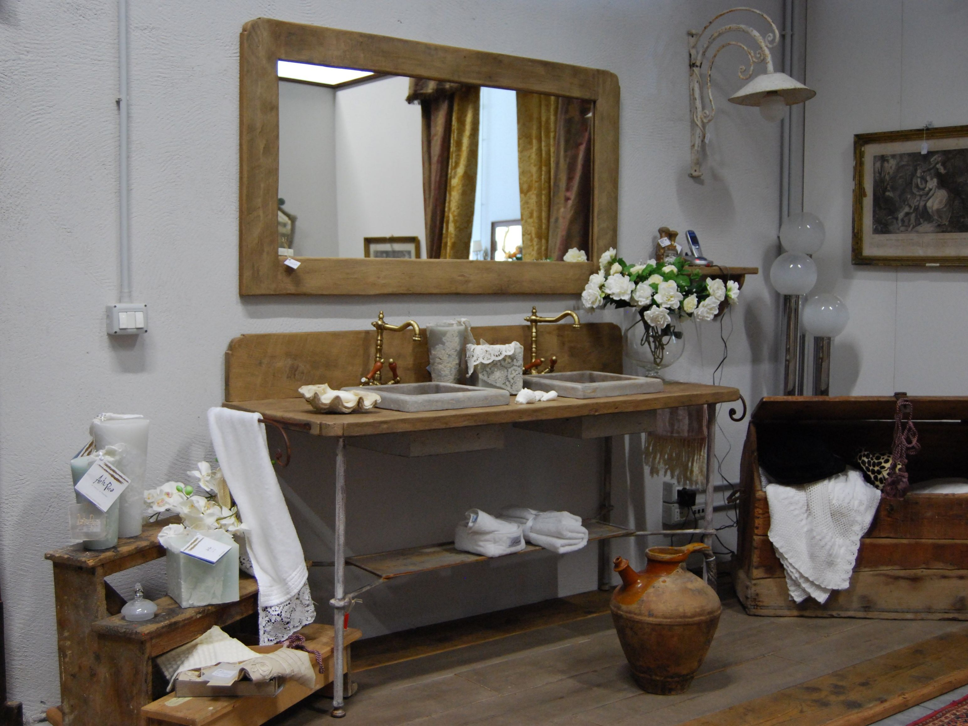 Bathroom furniture set romarin by bleu provence - Salle de bain shabby ...