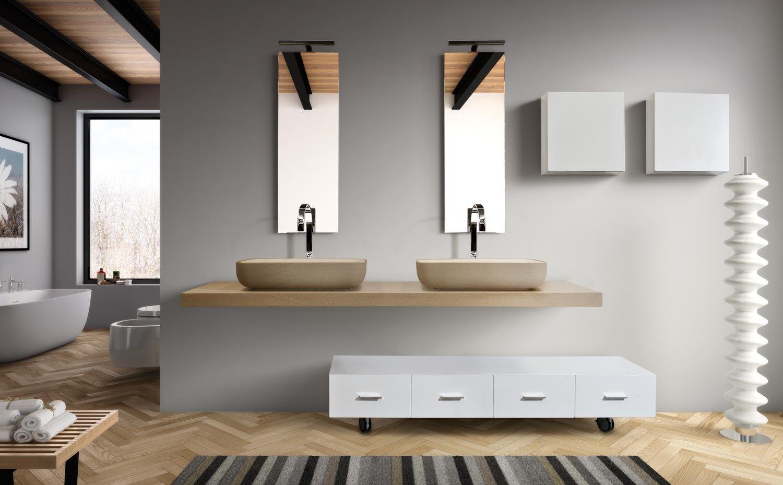 mobile bagno basso con cassetti con ruote mariposa 29 by lasa idea - Mobili Bassi Per Bagno