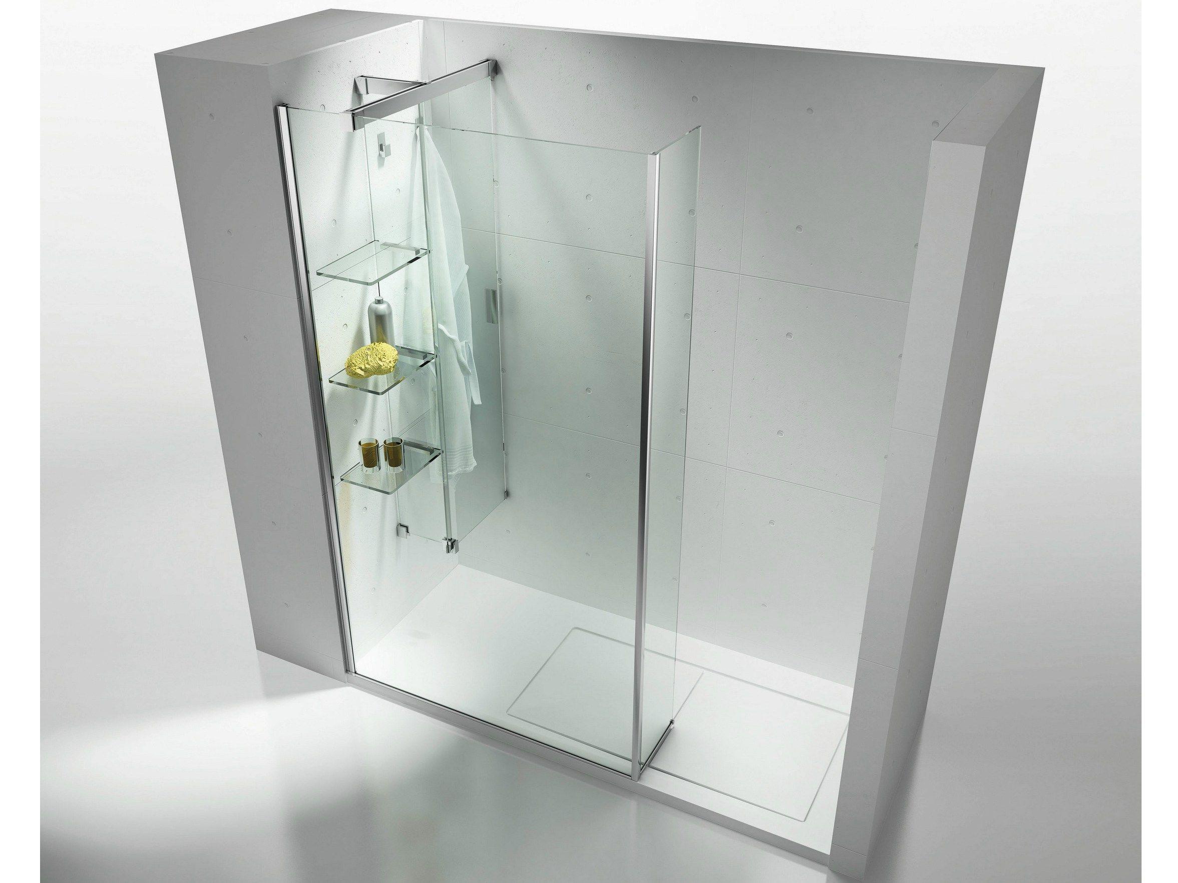 Panel separador corredero en cristal templado con repisas - Estantes para interior ducha ...