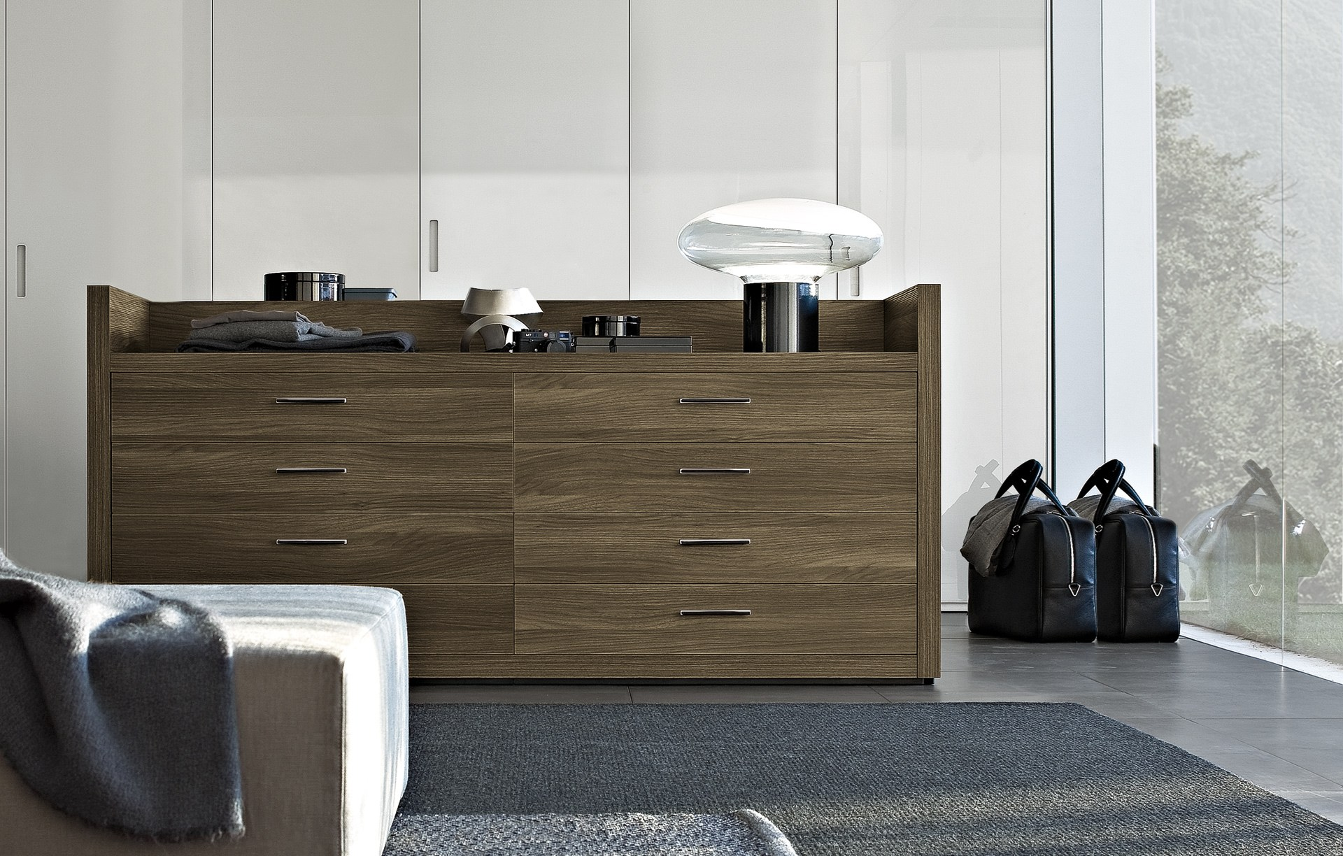 Lacquered Wooden Chest Of Drawers Tweed By Poliform Design