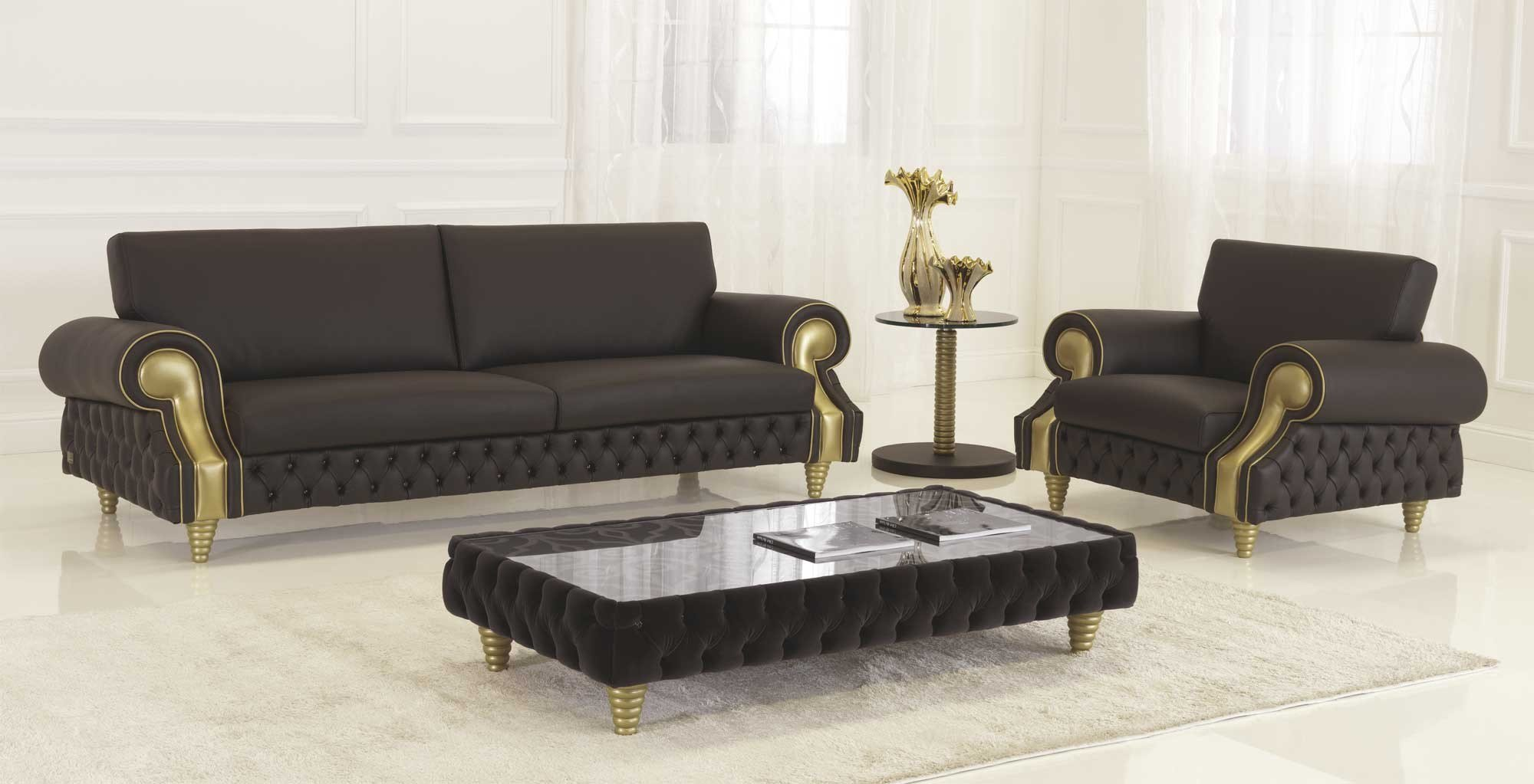 Tufted leather sofa NOBILITY By Formenti