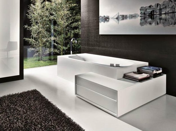 Cristalplant® bathtub with corner unit SHAPE  Cristalplant® bathtub ...
