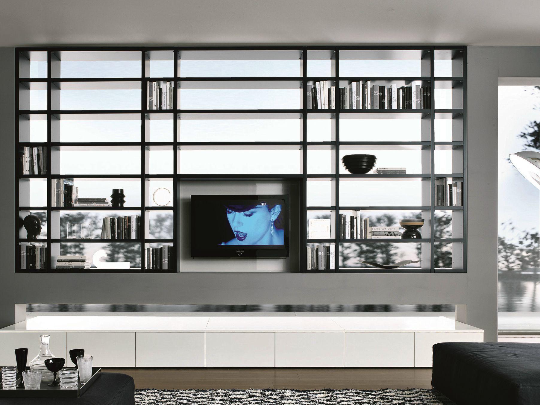 Libreria componibile in cristallo con porta tv SLIDE By F.lli ...