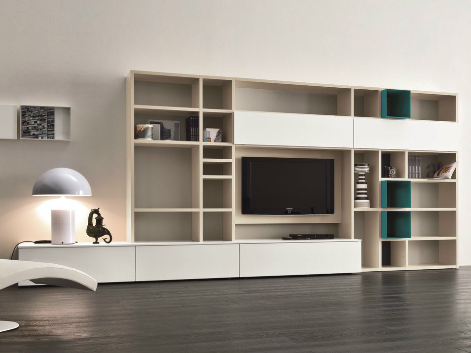 Ensemble mural laqu e avec support tv speed n by dall for Muebles modulares modernos para sala
