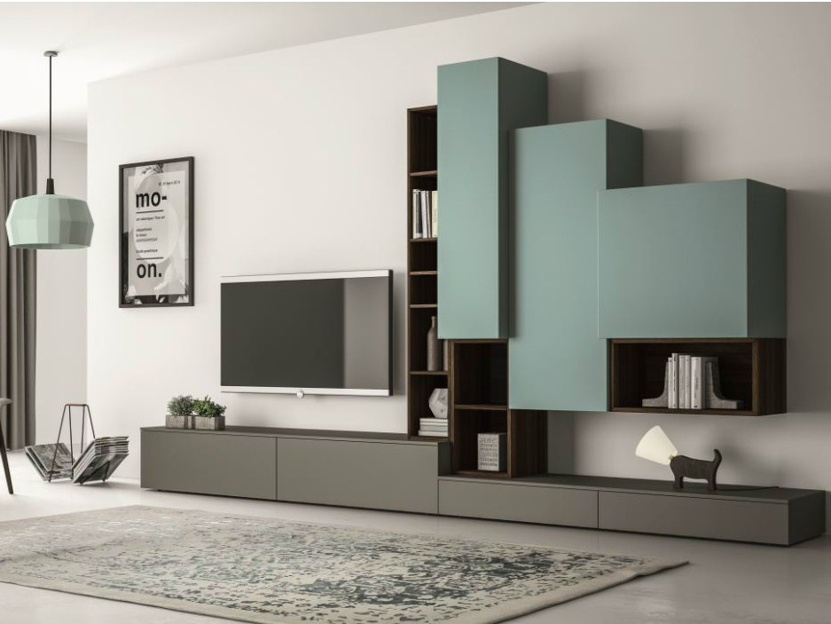 Sectional lacquered tv wall system slim 87 by dall agnese - Meuble tv suspendu ikea ...