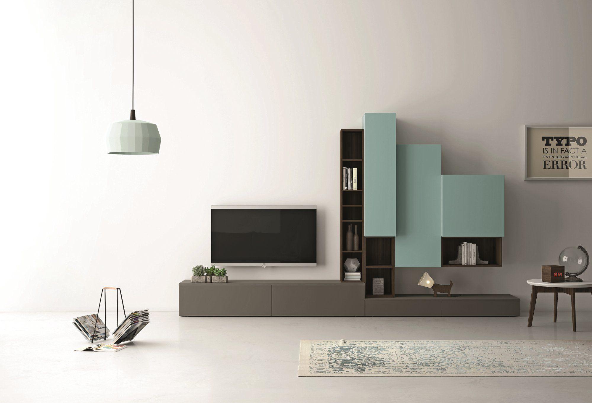 Parete attrezzata componibile laccata con porta tv slim 87 by dall 39 agnese design imago design - Dall agnese mobili classici ...