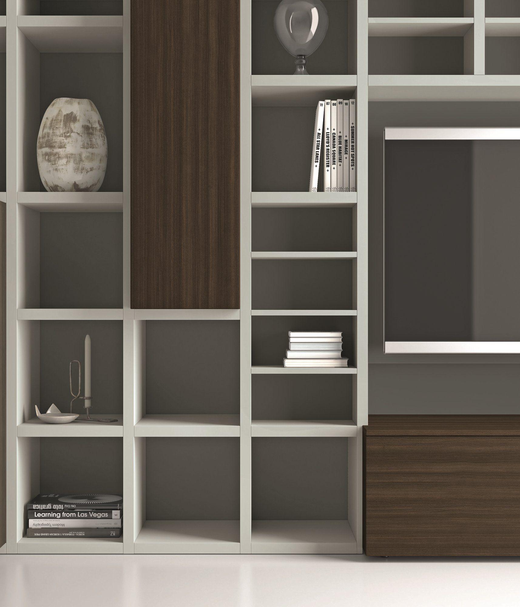 Libreria a giorno laccata con porta tv speed 25 by dall 39 agnese design imago design - Dall agnese mobili classici ...
