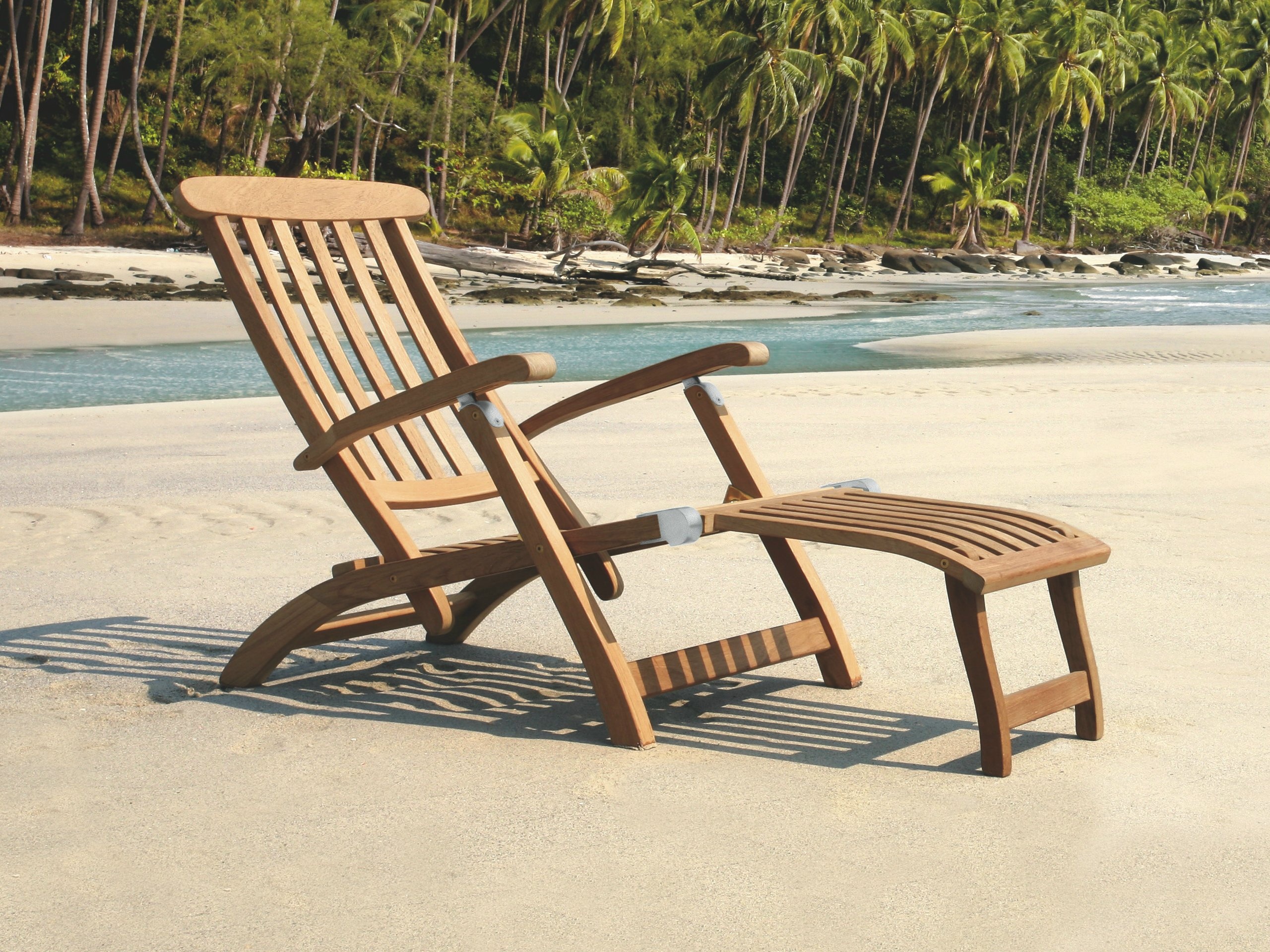 Folding recliner teak deck chair with armrests NORMANDIE By Tectona