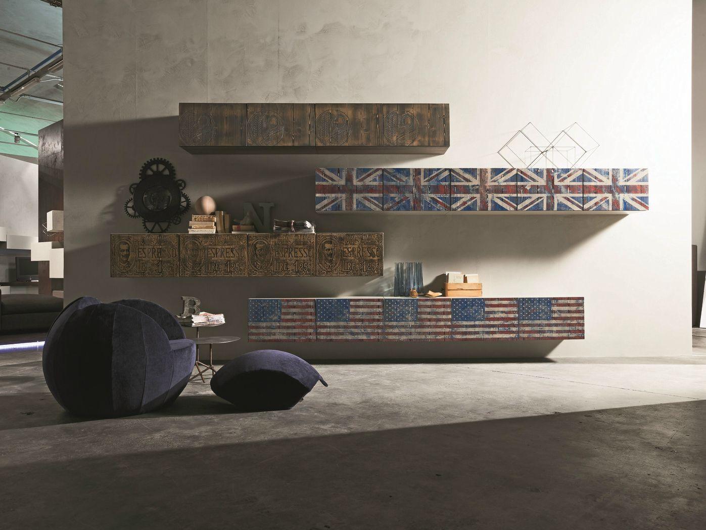 Inclinart vintage parete attrezzata by presotto design for Presotto pareti attrezzate
