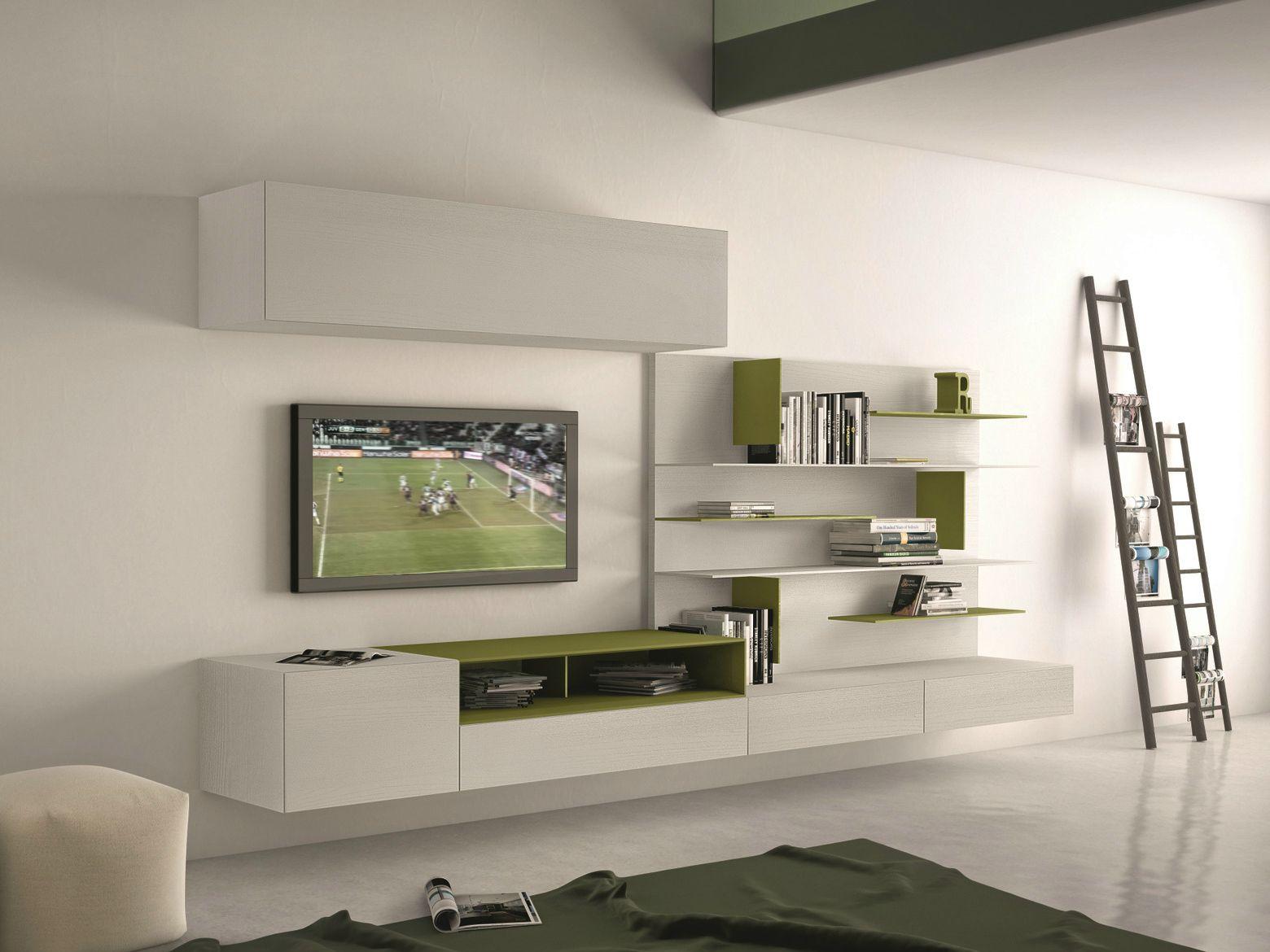 parete attrezzata componibile fissata a muro con porta tv