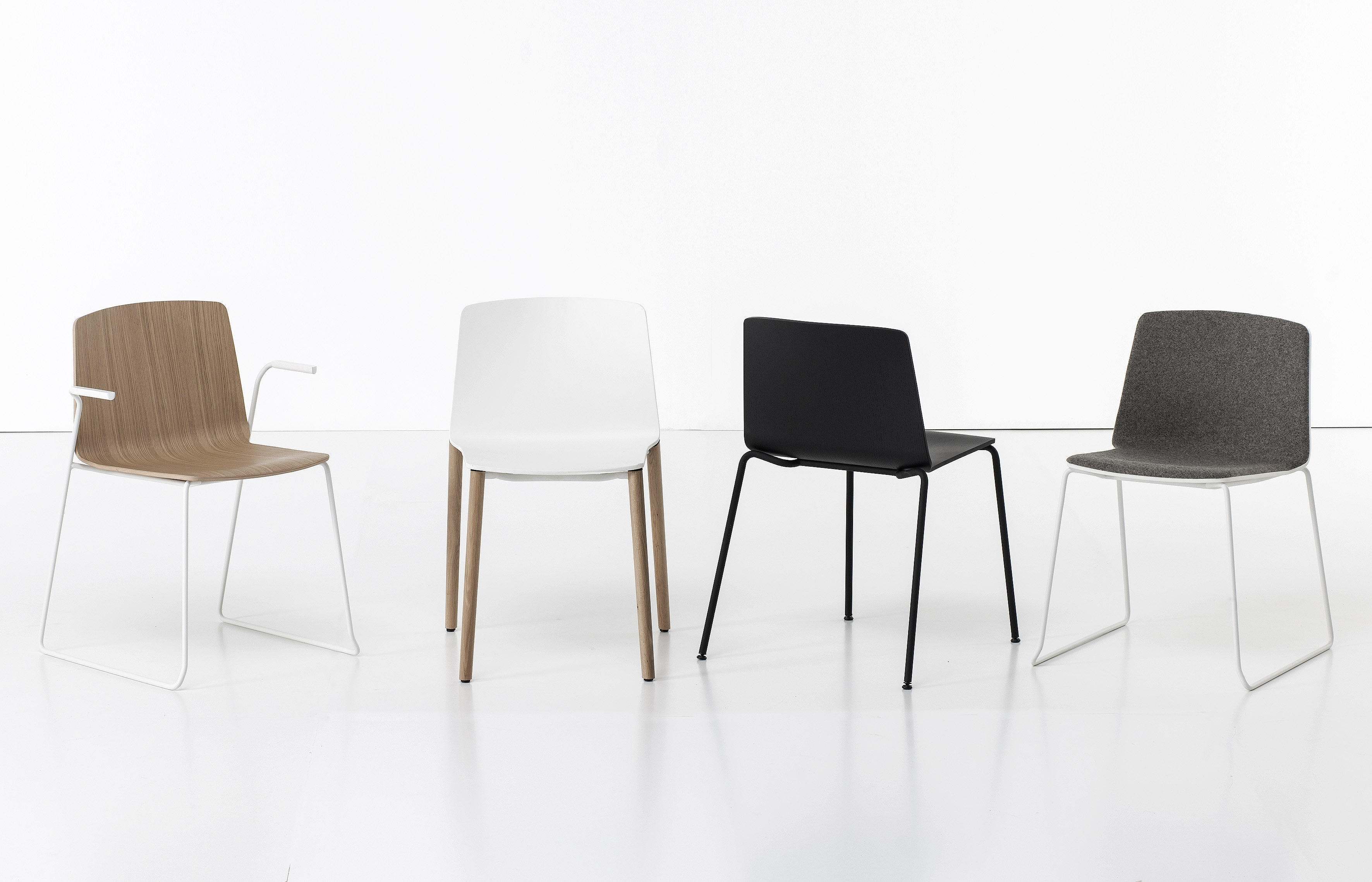 Upholstered Stackable Chair RAMA WOOD BASE By Kristalia Design Ramosu0026Bassols