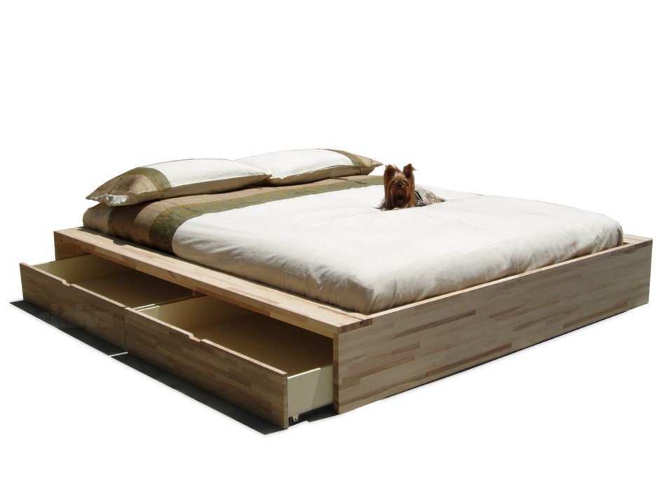 Wooden storage bed comodo by cinius - Letto matrimoniale giapponese ...