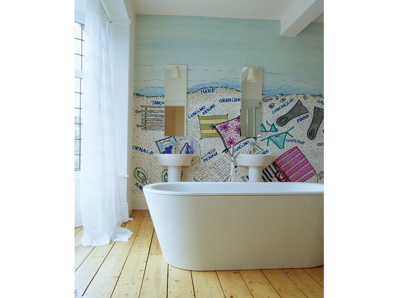 Carta da parati con scritte per bagno per bambini SAND TIPS by Wall&decò design INES PORRINO